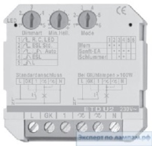 Универсальный диммер TCI ETDU29 UNIV.PUSHBUT. DIMM LED230V FOR WALLBOX 43x43mm TCI-180426