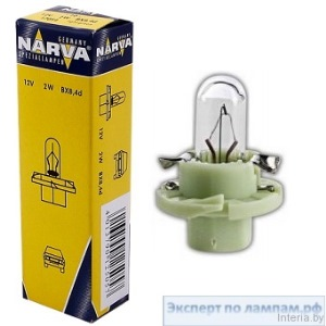 Лампа автомобильная Narva Plastic base lamps (BAX) 12V 2W BX8.4d light green - Narva-17054