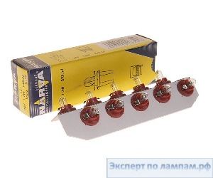 Автомобильная лампа Narva PLASTIC BASE LAMPS (BAX) 24V 1,2W Bax 8,5d brown - Narva-17076