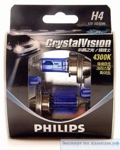 Лампа автомобильная PHILIPS SET CRISTAL VISION 2xH4+2xW5W 4300K - PH-12342CVnab