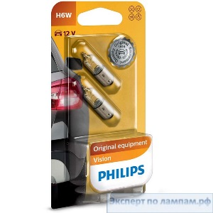 Галогеновая лампа для легковых автомобилей Philips H6W Standard 12036B2 12V 6W BAX9s (8711500247216) - PH-8711500247209