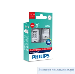 Светодиодная лампа Philips LED-T20-RED [W21W] UL 11065ULRX2 12V 2.7W W3x16d (8719018050281) - PH-8719018050274