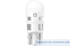 Светодиодная лампа Philips LED-T10 [W5W] 6000K UL 11961ULWX2 12V 0.6W W2,1x9,5d (8719018050328) - PH-8719018050311