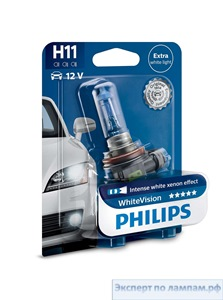 Галогеновая лампа для легковых автомобилей Philips H8 WhiteVision 12360WHVB1 12V 35W PGJ19-1 (8727900374728) - PH-8727900374711