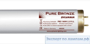 Лампа специальная для солярия Sylvania Pure Bronze PBO 180W 3,6 R LL 2m with reflector Extra-long tubes - SYL-0001285